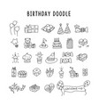 birthday elements hand drawn set with vector image