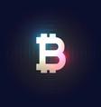 bitcoin symbol on dark blue background vector image vector image