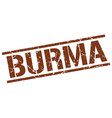 Burma brown square stamp vector image vector image