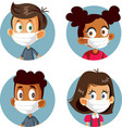 children wearing medical face masks avatars set vector image
