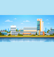 city landscape with hospital building exterior vector image