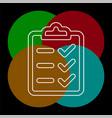 clipboard icon - check list vector image vector image