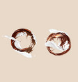 coffee and milk splashes chocolate and dairy mix vector image