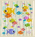 Colorful fish on retro background