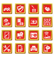 computer repair service icons set red square vector image