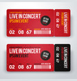 concert ticket design template for party festival vector image vector image
