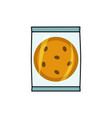 cookie with chocolate chips in individual package vector image