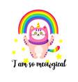 cute cartoon doodle cat vector image vector image