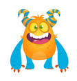 cute cartoon silly horned monster vector image vector image