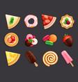 desserts sweets flat set vector image