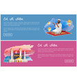 eid al adha web banners with arab man and mosque vector image vector image