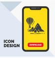 explore travel mountains camping balloons glyph vector image