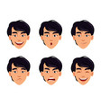 face expressions of asian man vector image