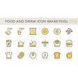 food and drink and coffee icon set design 48x48 vector image vector image