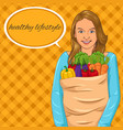 girl holding paper bag with full of vegetables vector image
