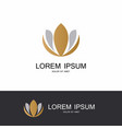 gold flower lotus logo vector image vector image