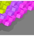 Grey background with multicolored volume cubes vector image vector image