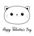 happy valentines day cat sad head face linear vector image vector image