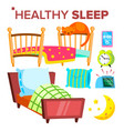 healthy sleep pillow sofa alarm clock vector image