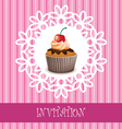 invitation card with cupcake vector image vector image