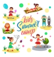 Kids summer camp cartoon children Girl vector image