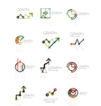 Linear graph and chart abstract logo set vector image