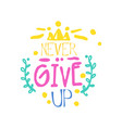 never give up positive slogan hand written vector image vector image