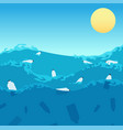 ocean plastic pollution polluted sea water vector image vector image