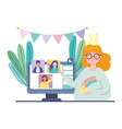 online party birthday or meeting friends young vector image vector image