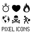 Pixel icon set vector image vector image