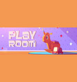 play room cartoon banner with kids toys vector image