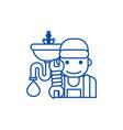 plumbing service line icon concept plumbing vector image vector image