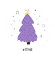 poster with hand drawn christmas tree vector image vector image