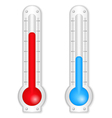 Red and blue thermometers vector image