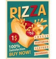 Retro banner with slice of pizza vector image vector image