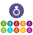 ring with gemstone icons set flat vector image vector image