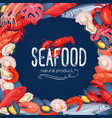 seafood banner fish and shellfish vector image