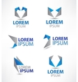 Set of abstract colorful origami icons logos
