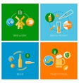 set of flat beer design icons vector image vector image