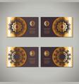 set of four golden floral ornamental cards with vector image vector image