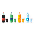 set plastic bottle water and sweet soda vector image vector image