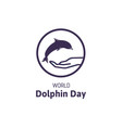 simple logo with text world dolphin day vector image vector image