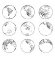 sketches of continents on planet earthworld ocean vector image
