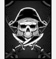 skull pirate with sword vector image vector image