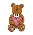 Teddy bear with heart present vector image