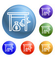 under table money bag icons set vector image