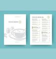 vegetarian restaurant menu layout design brochure vector image