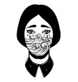 weird young girl with sad eyes and sea waves vector image