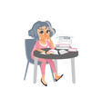 woman reading in library table with pile of books vector image