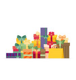 pile colorful gift or present boxes with ribbon vector image